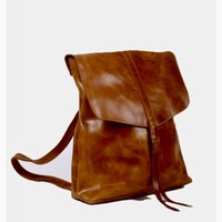 Lily Brown Leather Backpack