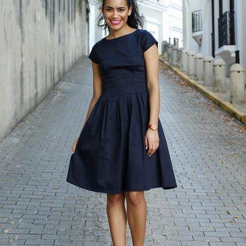 Alexandria Fit and Flare Dress Navy