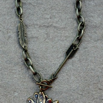 Pink Panache Bronze Indian Head with Sapphire Iridescent Crystals on Bronze Chain Necklace