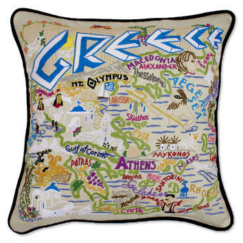 Greece Hand Embroidered Pillow