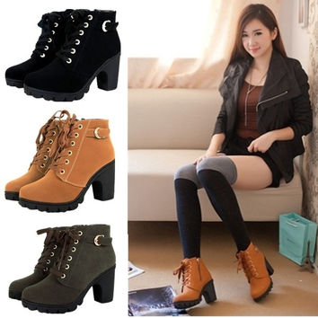 Girl Women High Top Heel Lace Up Buckle Ankle Boots Winter Pumps Suede Shoes NEW = 1945784644