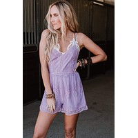 Channing Lace Romper - Lavender