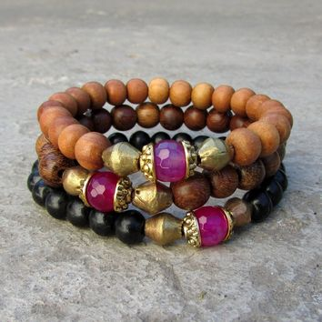 Grounding, Sandalwood, Genuine Ebony, Wood and Pink Agate Guru Bead Mala Bracelet Set