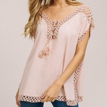 Crochet Detail Poncho Top - Blush