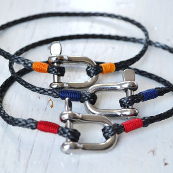 Nautical Bracelet Rope Bracelet MINIMAL SHACKLE Bracelet Sailing Surfer Kayaker Kite Boarder Unisex Free Shipping