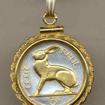 Gorgeous 2-Toned Gold on Silver Irish  Rabbit,  Coin Necklaces