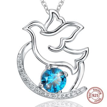 Sterling silver 925 peace dove chain pendant necklace with blue CZ