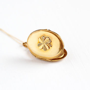 Vintage Gold Plated Four Leaf Clover German Locket Necklace - 1940s WWII Germany Oval Pendant Shamrock Good Luck Gold Filled Photo Jewelry