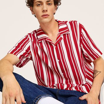 Men Red And White Collar Striped Shirt