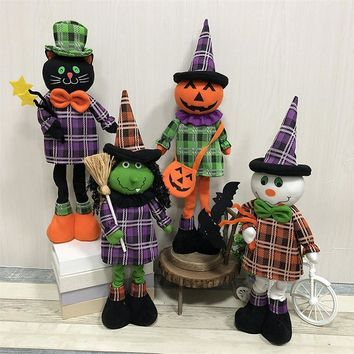 Festival Adornment Halloween Decorations Retractable Standing Toy Tall 40cm-50cm Black Cat Pumpkin Witch Ghost Dolls Home Decor