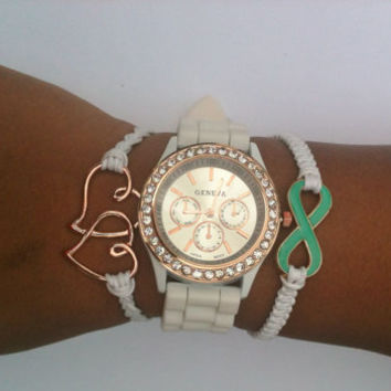 Rose Gold White and Turquoise Stack Set of 3 Watch Included