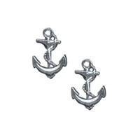 Classic Hardware Silver Rockware Anchor Stud Earrings - Unique Vintage - Homecoming Dresses, Pinup & Prom Dresses.