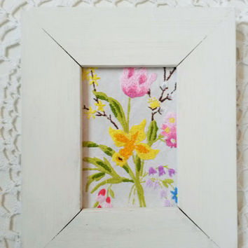 Framed embroidery art, flower art, flower picture, spring art, framed needlepoint, ready to hang, daffodil art, flower needle point, crewel