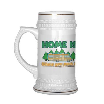 22 oz Ceramic Beer Stein Mug RV Camper Camping Home Is Where You Park It