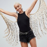 Savage Rainbow Gold Sequin Wings at asos.com