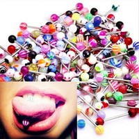 30pcs Random Color Fashion 316L Surgical Steel Mix Color Tongue Ring Bar Barbell Tongue Piercing Body Jewelry
