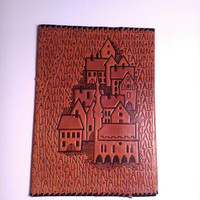 Medieval Tallinn Vintage Leather Book Cover W/ Bookmark, Brown Notebook Cover, For Book Lover, Soviet Leather Book Cover, Embossed Leather