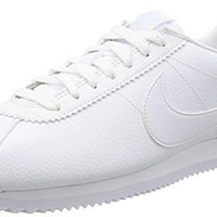 NIKE Classic Cortez Leather lifestyle fashion sneakers all white New 749571-111