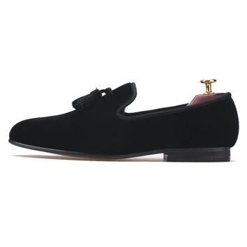 New Handmade Mens Shoes Casual Black Velvet Loafers with Tassel Flats Smoking Slippers Party Dress Prom Shoes Plus Size US 7-13