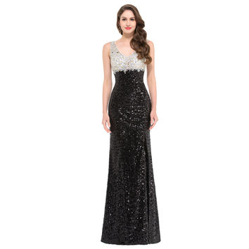 Luxury Glitter Sequins Mermaid Prom Dresses Black White Evening Dress Formal Engagement Party Gown Long Prom Dress GK22