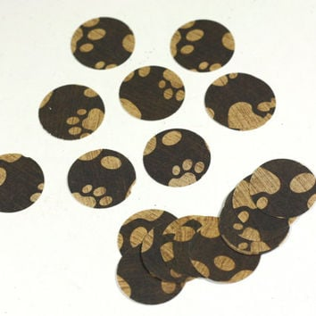 1 inch blanks - 24 Brown Puppy Paw Circle Cut Outs, 1 inch scrapbook embellishment blanks