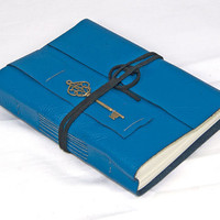 Blue Leather Journal with Heart Bookmark