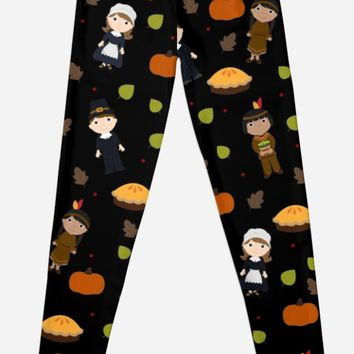 'Pilgrims and Indians pattern - Thanksgiving' Leggings by ValentinaHramov