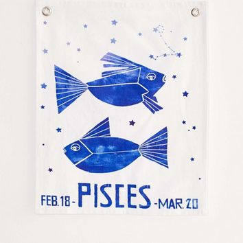 Graphic Zodiac Flag Tapestry | Urban Outfitters