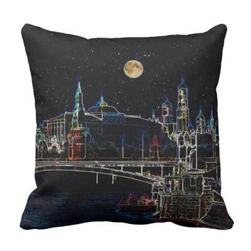 Moscow Kremlin Skyline At Night With Full Moon Pillow