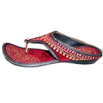 CREYON Rajasthani !! Embroidered Heel Wedges Ethnic Fashion Woman Sandal,Slippers5.5