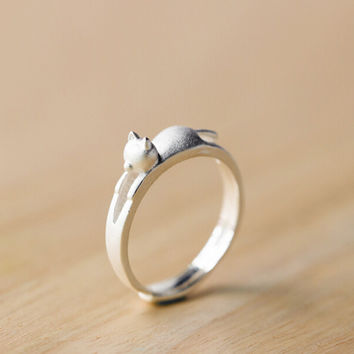 Lovely cat 925 sterling silver adjustable ring,a perfect gift