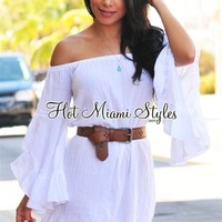 White Gauze Off-The-Shoulder Tunic Top/Mini Dress
