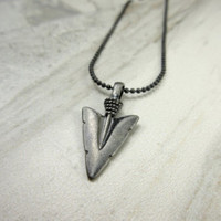 Arrowhead Necklace, Guy Necklace, Silver Toned Arrowhead, Gift for Men, Guy Gift,