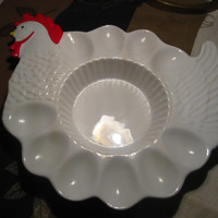 Cute Hen Deviled Egg Dish/Platter, Hand Painted in Portuguel, Teleflora,  Country Kitchen
