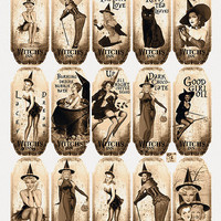 30 Grunge Apothecary Sexy Pin Up Halloween Witches Bottle Jar Labels Tags Digital Collage Sheet