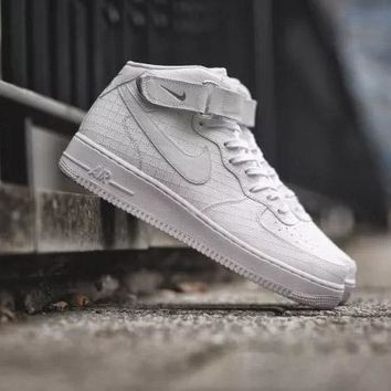 PEAPON Nike Air Force 1 Mid Pattern White For Women Men Running Sport Casual Shoes Sneakers