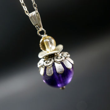 Vintage Amethyst Necklace -  Modern Antique Single Amethyst  Pendant  - Sterling Silver Amethyst Jewelry - February Birthstone