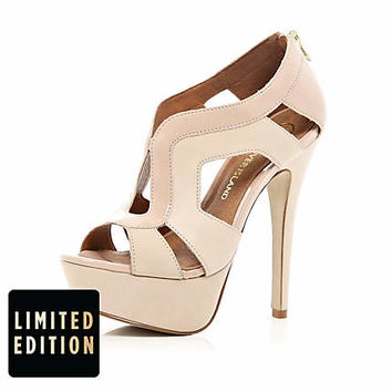 Light pink cut out platform sandals - heels - shoes / boots - women