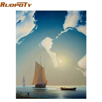 RUOPOTY Frame Lover Boat DIY Painting By Numbers Home Wall Art Picture Hand Painted On Canvas For Wedding Decoration 40x50cm