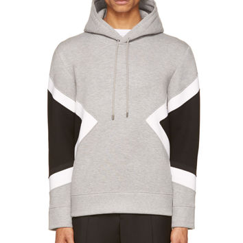 Neil Barrett Grey Neoprene Modernist Hoodie