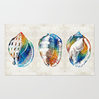 Colorful Seashell Art - Beach Trio - By Sharon Cummings Area & Throw Rug by Sharon Cummings