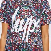 Hype Cropped T-Shirt With All Over Stained Glass Print - Multi