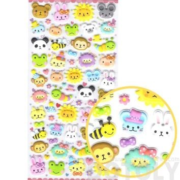 Adorable Bear Lion Bunny Mouse Monkey Frog Animal Face Shaped Puffy Stickers