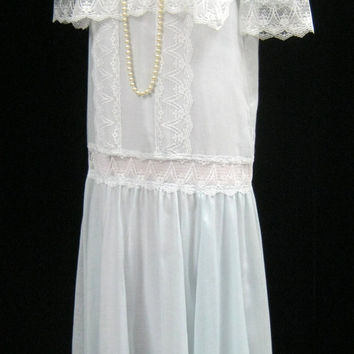 Vintage 80s Jessica McCLINTOCK DRESS 20s Style GATSBY Look Wedding Lace Trim Deadstock Bust 39""