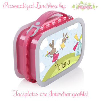Bunny Lunchbox - Personalized Lunchbox with Interchangeable Faceplates - Double-Sided Sweet Flying Girl Bunnies Lunchbox