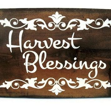 Thanksgiving Fall Autumn Sign Rustic Wood Wall Decor - Harvest Blessings (#1214)