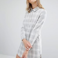 Native Youth Boxy Shirt Dress Light Check