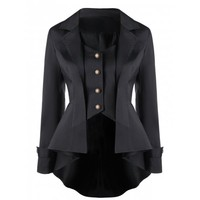 Button Up Notched Collar High Low Coat
