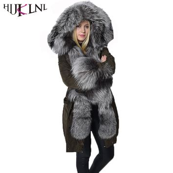 HIJKLNL Real Sliver Fox Fur Hooded Long Down Jacket Coat 2017 New Women Thick Duck Down Puffer Jacket Snowwear Parka NA242