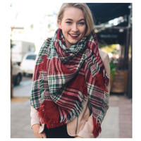 """Always My Style"" Huge Cozy Red Green Plaid Blanket Scarf"